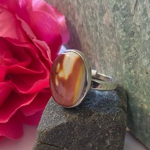 Silver plated Mookaite Jasper Oval ring size 7.5